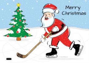 Hockey playing Santa greeting card on Zazzle