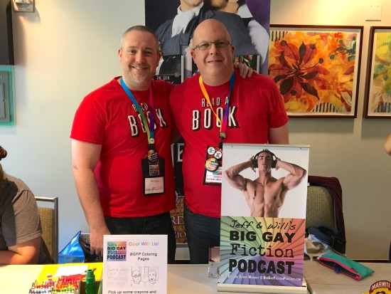 Jeff and I manning the Big Gay Fiction Podcast table at one of the Author Lounges.