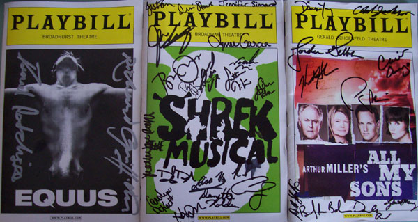 Equus, Shrek the Musical, All My Sons Playbills