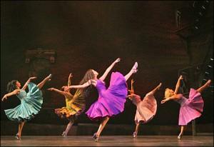 Karen Olivo (center) leads the women in West Side Story