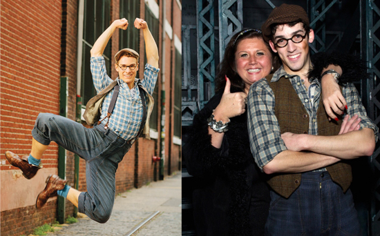 "Ryan Steele and John Michael Fiumara as Specs in ""Newsies"""