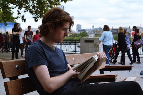 Hot Guys Reading Books on Park Benches