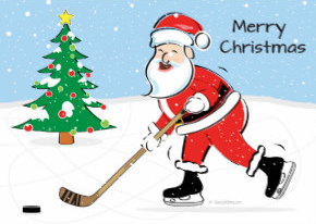 Hockey playing Santa greeting card on Zazzle