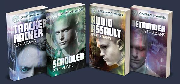 From left to right: Tracker Hacker, Schooled, Audio Assault, Netminder books