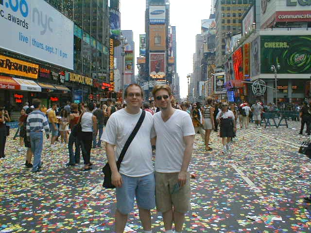 Here's Jeff and I in Times Square for the Broadway on Broadway concert in Sept. of 2000.