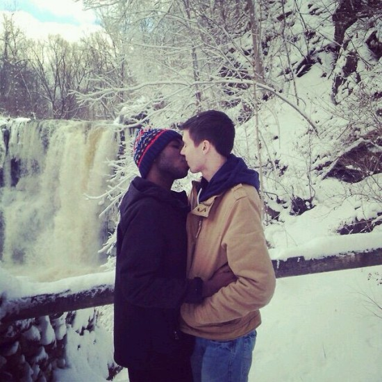 Cute Holiday Couples Kissing