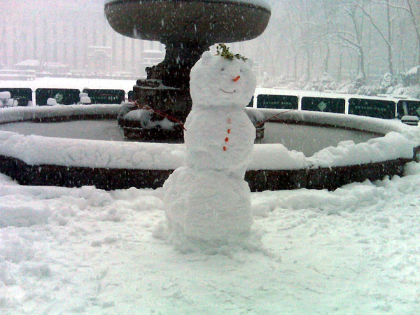 Snowman in Bryant Park