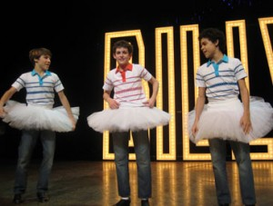 The three Billys on stage for Billy Elliot's opening night.