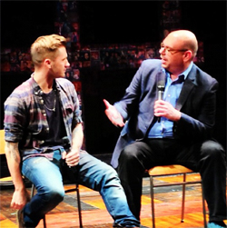 """Travis Wall at a """"Bare: The Musical"""" talk back. Photo from the baremusicalnyc Instagram."""