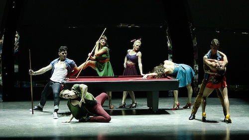 Seven of the Top 14 perform a group routine choreographed by Spencer Liff.