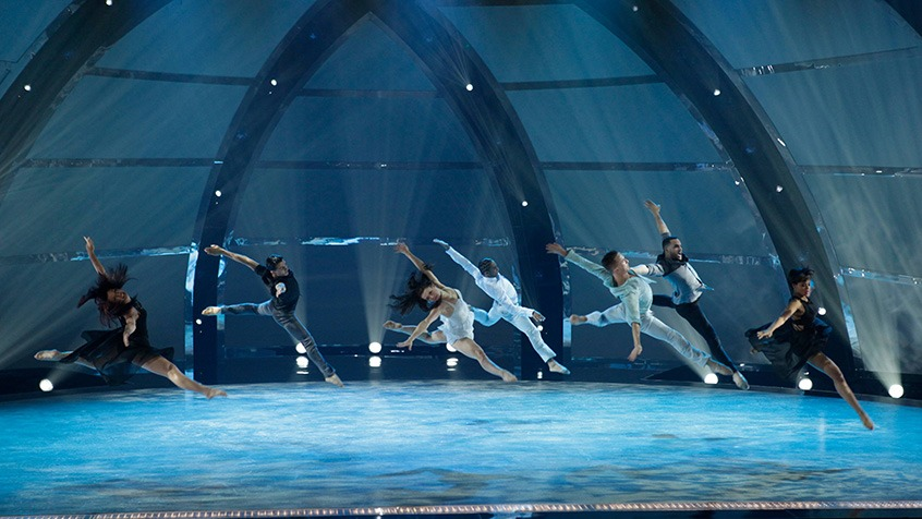 Seven of the Top 14 perform a group routine choreographed by Bonnie Story.