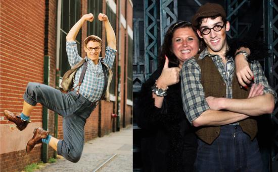 "Ryan Steele and John Michael Fiumara as Specs in ""Newsies"""