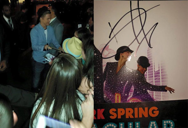 Derek Hough signing autographs outside Radio City along with the one that I got on my collector's program.
